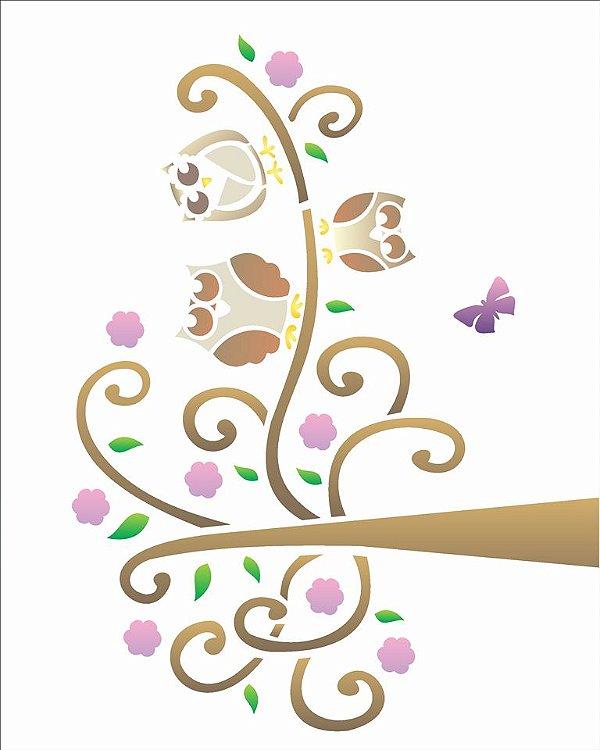 Stencil 20×25 Simples – Coruja na Árvore – OPA 1089