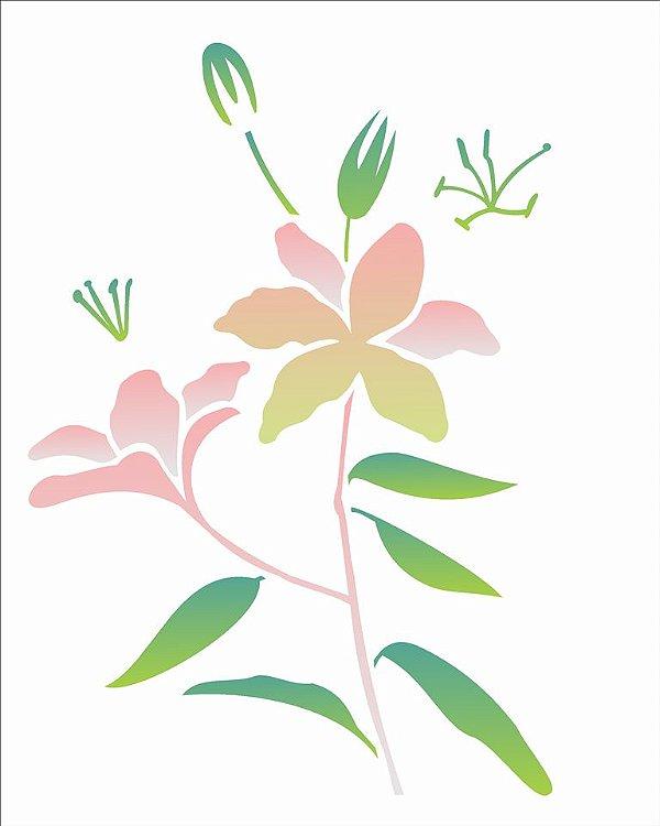 Stencil 20×25 Simples – Flor Lirio – OPA 2064