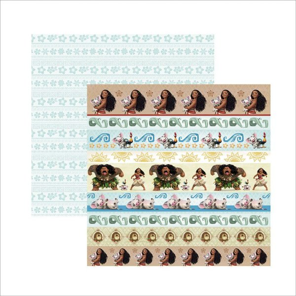 Folha para Scrapbook Dupla Face Disney Toke e Crie Moana 2 Faixas - 19673 - SDFD89