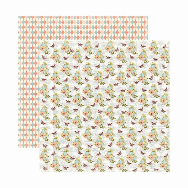 Folha para Scrapbooking Dupla Face Toke e Crie Floral Flores e Borboletas by Ivana Madi - 20652 - SDF806