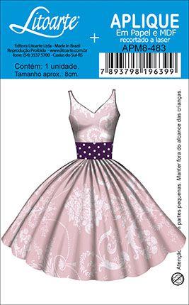 APM8-483 - Aplique Litoarte Em Papel E MDF - Vestido Retro Rosa