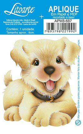 APM8-687 - Aplique Litoarte Em Papel E MDF - Cachorro Simpático