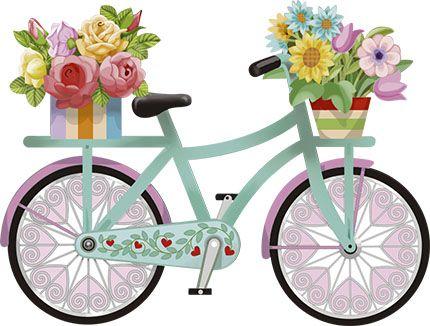 APM8-1154 - Aplique Litoarte Em Papel E Mdf - Bicicleta Com Flores