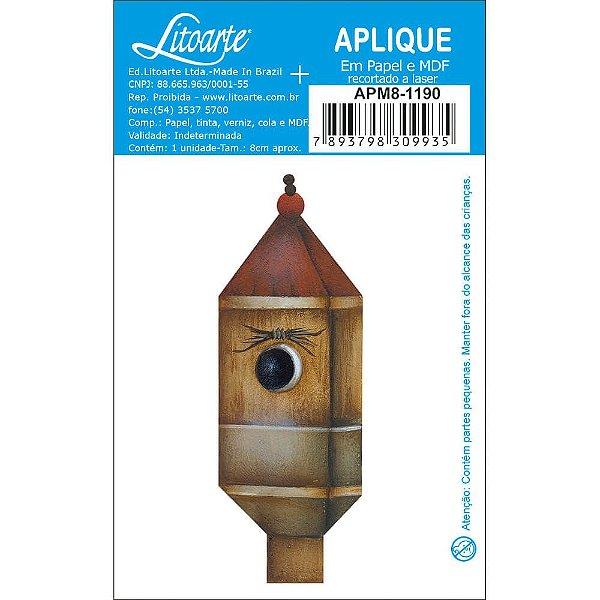 APM8-1190 - Aplique  Litoarte Em Papel E MDF - Casinha De Passarinho