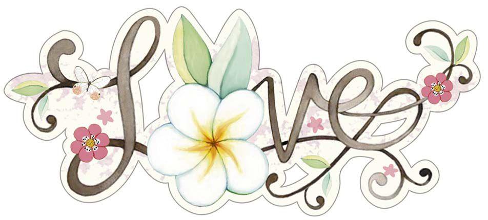 APM8-1223 - Aplique  Litoarte Em Papel E MDF - Love,Flor