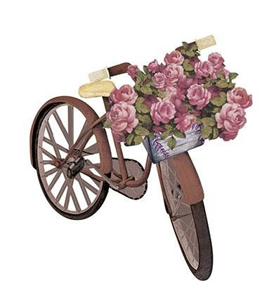 APM8-1068 - Aplique Litoarte Em Papel E MDF - Bicicleta Com Rosas