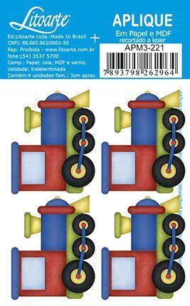 APM3-221 - Aplique Litoarte Em Papel E MDF - Trenzinhos