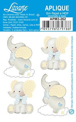 APM3-262 - Aplique Litoarte Em Papel E MDF - Elefantes Bebês Meninos