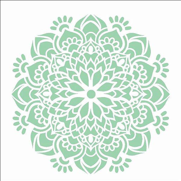 Stencil 14×14 Simples – Mandala Flor Bauer – OPA 2692