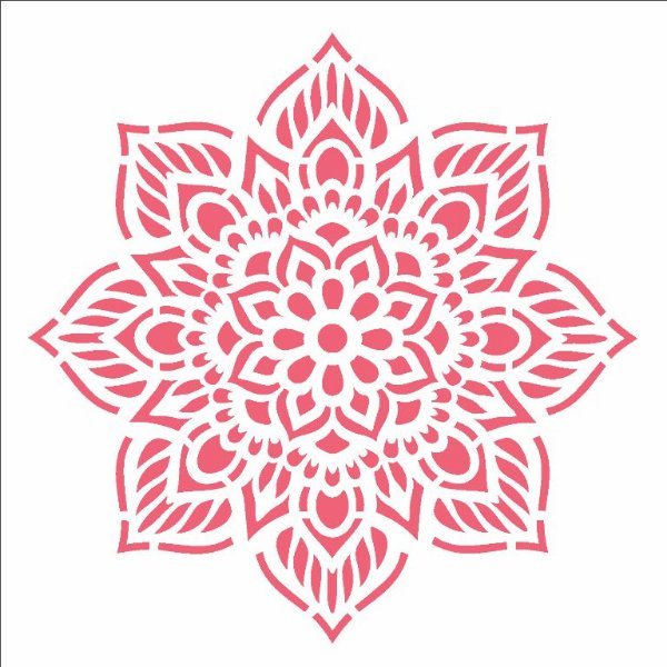 Stencil 14×14 Simples – Mandala Flor Oito Pontas – OPA 2693