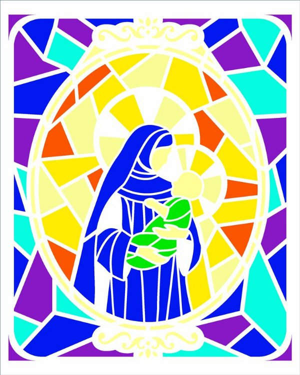 Stencil 20×25 Simples – Vitral Nossa Senhora I – OPA 2740