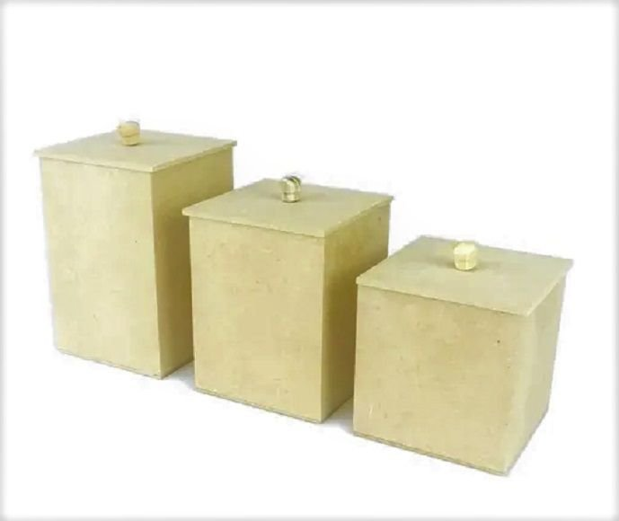 Trio de Potes de Liso 3 Tamanhos Kit BB - MDF Crú