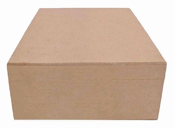 Caixa De Chá Lisa em MDF C/ 4 Divisórias e Dobradiça 18x18x8