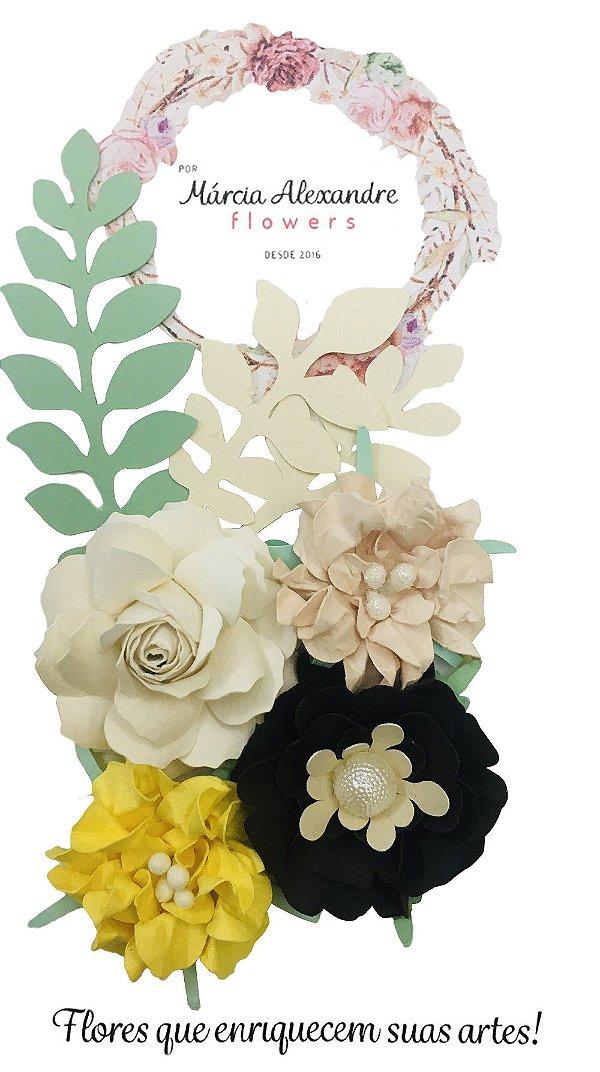 Flores de Papel P/ Scrapbook 0901 Chocolate com Creme
