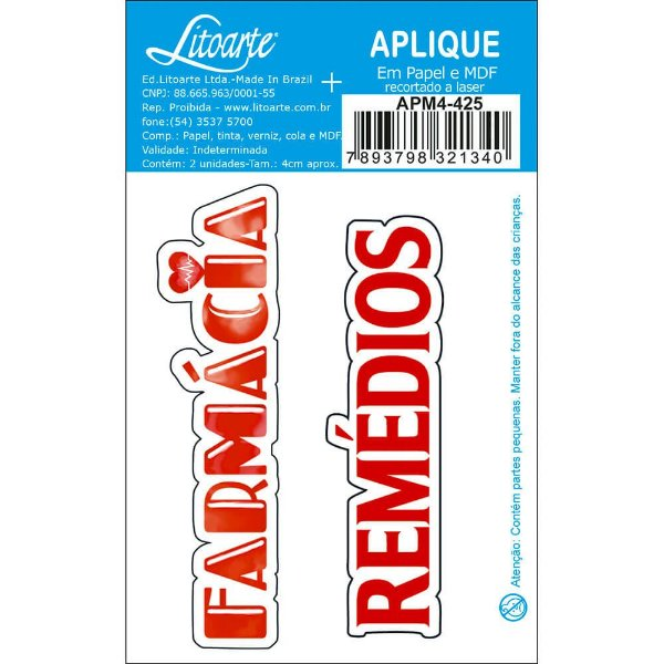 APM4-425 Aplique Litoarte Em Papel E MDF - Farmácia, Remédios