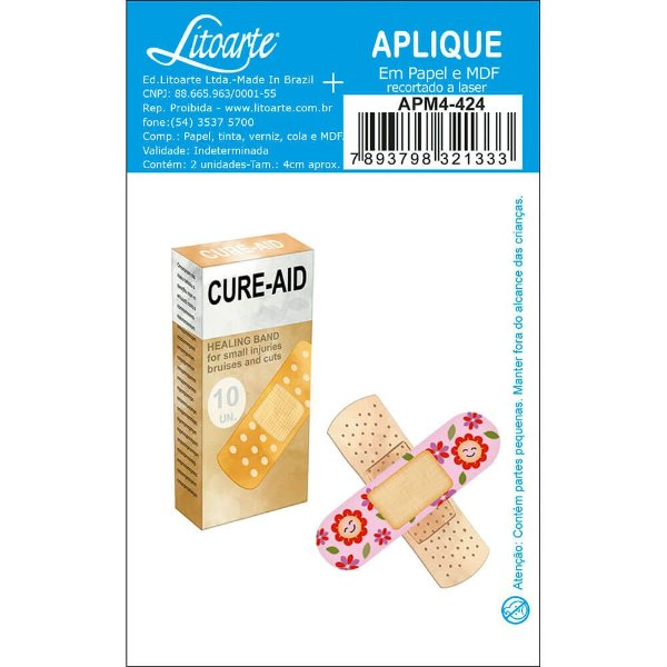 APM4-424 Aplique Litoarte Em Papel E MDF - Curativos, Farmácia, Medicamentos