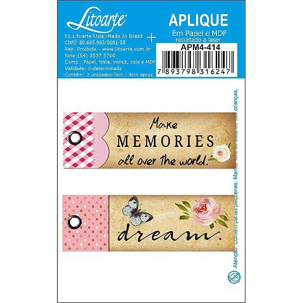 APM4-414 Aplique Litoarte Em Papel E MDF - Tags, Borboletas, Flores