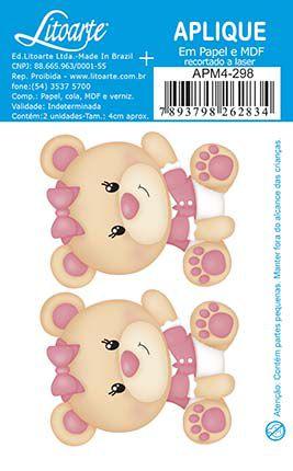APM4-298 Aplique Litoarte Em Papel E MDF - Ursinhas Bebês
