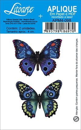 APM4-098 Aplique Litoarte Em Papel E MDF - Borboletas Azuis