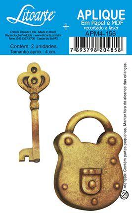 APM4-156 Aplique Litoarte Em Papel E MDF - Cadeado e Chave Dourada