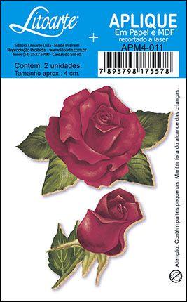 APM4-011 Aplique Litoarte Em Papel E MDF - Rosa e Botão Vermelhos