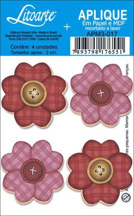 APM3-017 - Aplique Litoarte Em Papel E MDF - Flores Botão Tons de Rosa