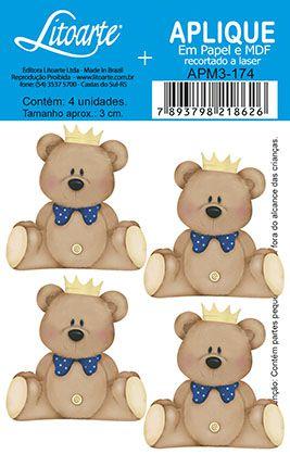 APM3-174 - Aplique Litoarte Em Papel E MDF - Urso de Coroa Marinho
