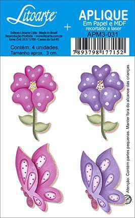 APM3-031 - Aplique Litoarte Em Papel E MDF - Flor Borboleta