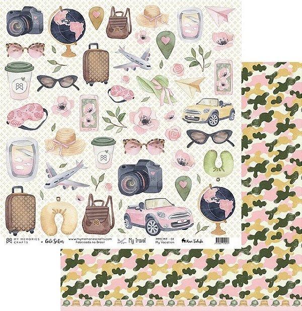 Papel My Memories Para Scrapbook - My Travel MMCMT-01