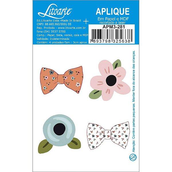 APM3-281 - Aplique Litoarte Em Papel E MDF - Flores E Laços