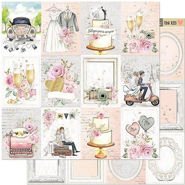 Papel Para Scrapbook Dupla Face 30,5 cm x 30,5 cm – Casamento, Noivos, Flores, Recém Casados SD-1120