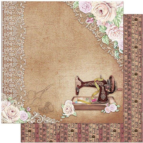 Papel Para Scrapbook Dupla Face 30,5 cm x 30,5 cm – Costura, Maquina, Flores, Rosas, Rendas SD-1122