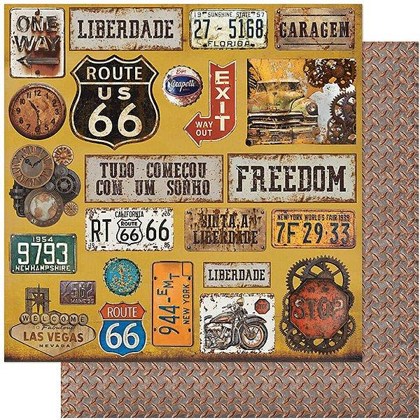 Papel Para Scrapbook Dupla Face 30,5 cm x 30,5 cm – Rustico, Carros, Moto, Placas, Las Vegas SD-1114