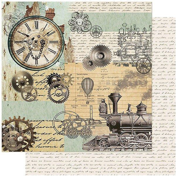 Papel Para Scrapbook Dupla Face 30,5 cm x 30,5 cm – Vintage, Relógio, Engrenagem, Trem SD-1070
