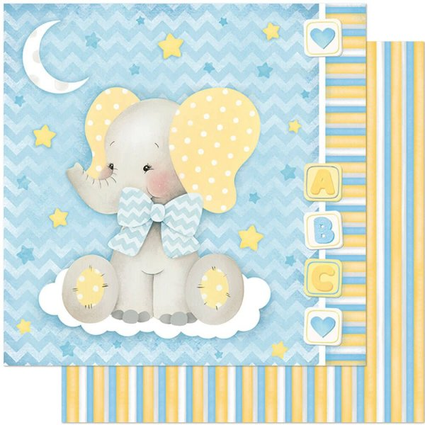 Papel Para Scrapbook Dupla Face 30,5 cm x 30,5 cm – Bebê Elefante Fundo Azul/Listras SD-812