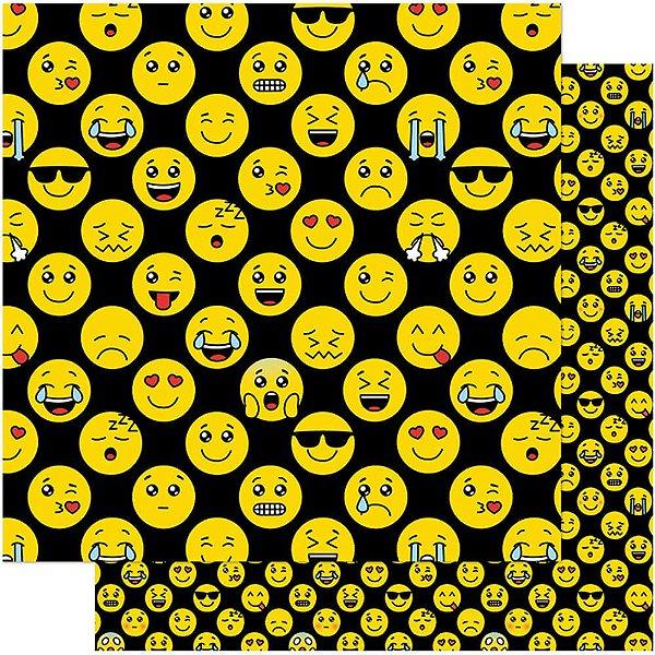 Papel Para Scrapbook Dupla Face 30,5 cm x 30,5 cm – Carinhas Emoticons Amarelas Da Internet SD-763