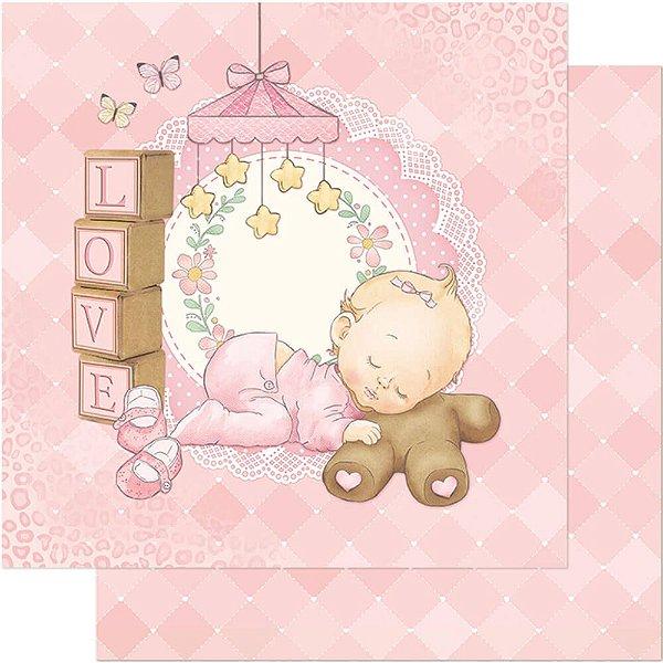 Papel Para Scrapbook Dupla Face 30,5 cm x 30,5 cm – Bebê Dormindo,Blocos,Rosa SD-680