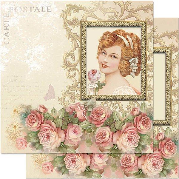 Papel Para Scrapbook Dupla Face 30,5 cm x 30,5 cm – Dama Vintage SD-582