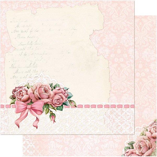 Papel Para Scrapbook Dupla Face 30,5 cm x 30,5 cm – Rosas Shabby Chic SD-464