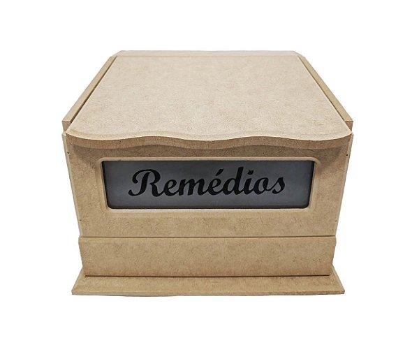 Caixa Remédio Vidro Jateado Articulada com 1 Gavetas P MDF