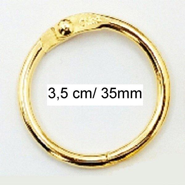 Kit com 6 Argolas Articulada Dourada 3,5 cm P/ Encadernação