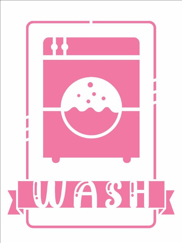 Stencil 15X20 Simples Lavanderia Wash - Opa 2941