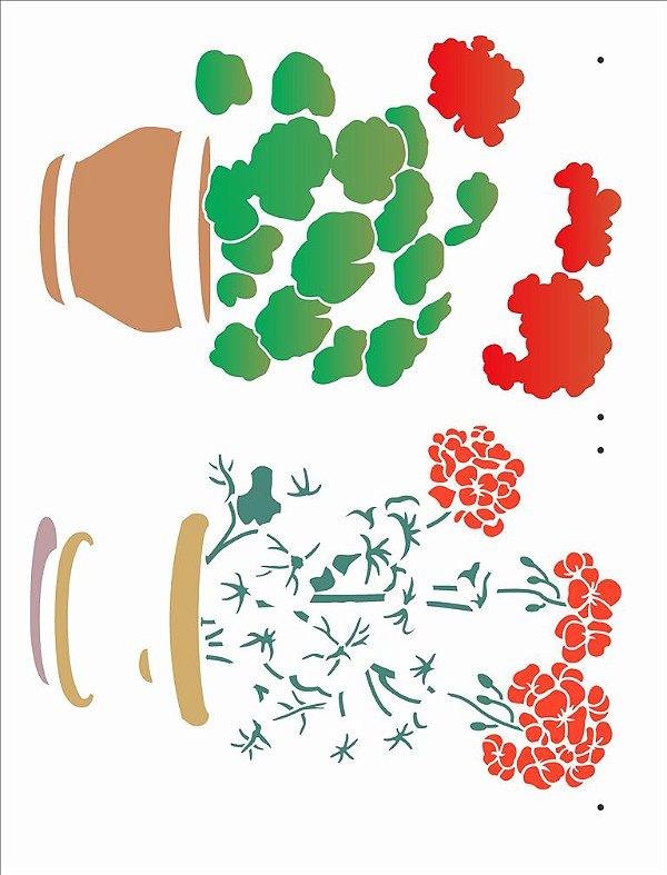 Stencil 32×42 Simples – Vaso Flores Gerânicos - Opa 2990