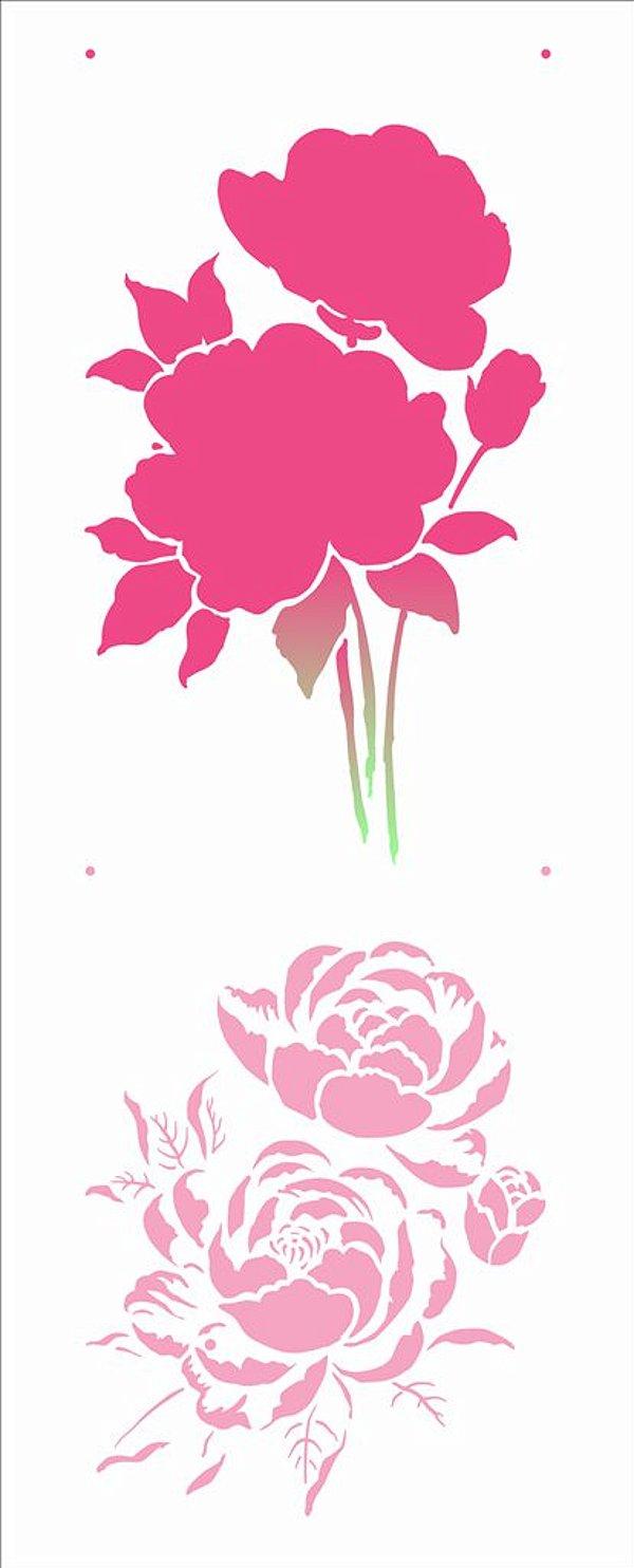 Stencil 17X42 Simples – Flores Camélias - Opa 2946