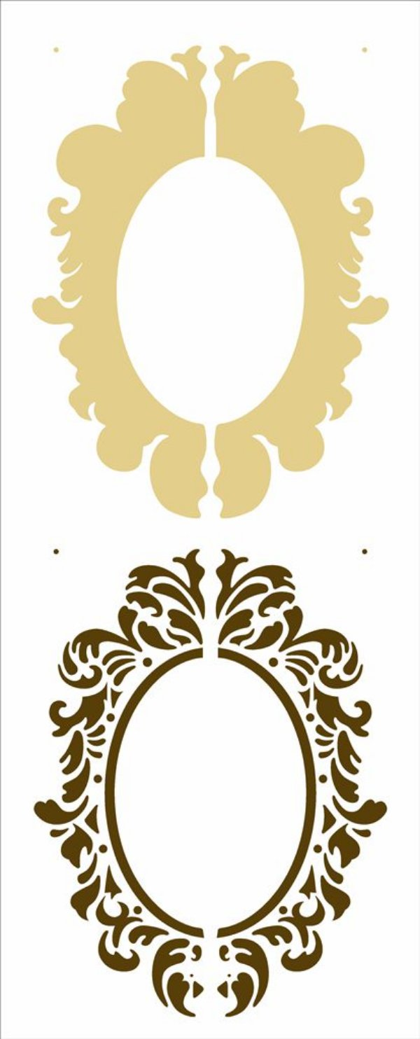 Stencil 17X42 Simples – Moldura Oval - Opa 2951