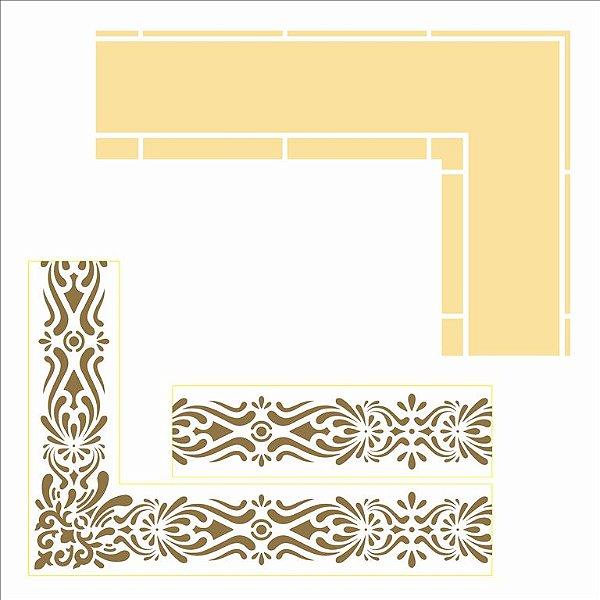 Stencil Simples 30,5 x 30,5 cm Moldura Cantoneira I Opa 2988