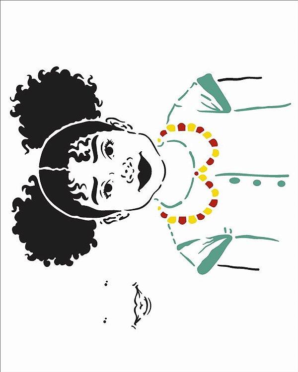 Stencil 20X25 Simples Afro Menina - Opa 2955