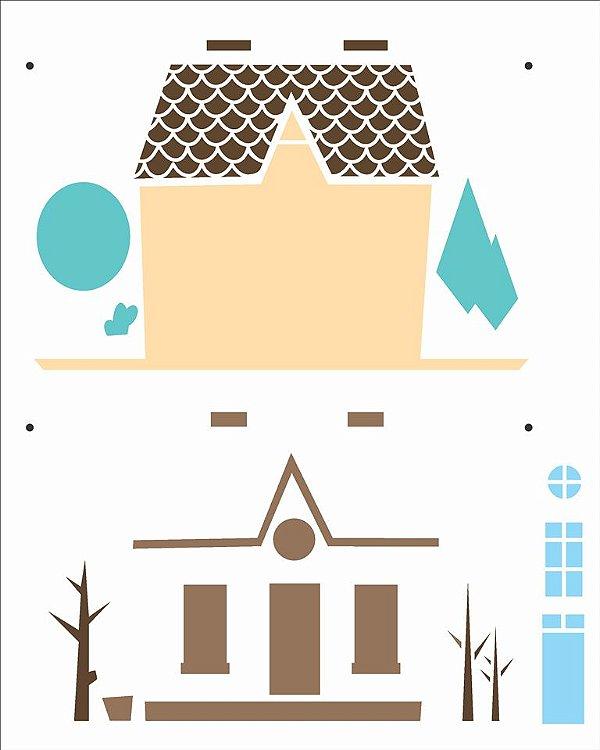 Stencil 20X25 Simples Country Brasil - Casa I - Opa 2960