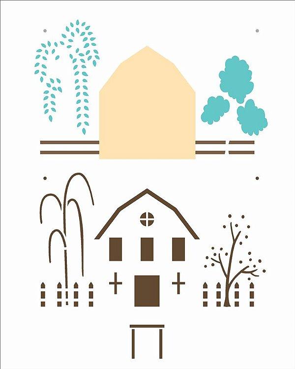 Stencil 20X25 Simples Country Brasil - Casa II - Opa 2961