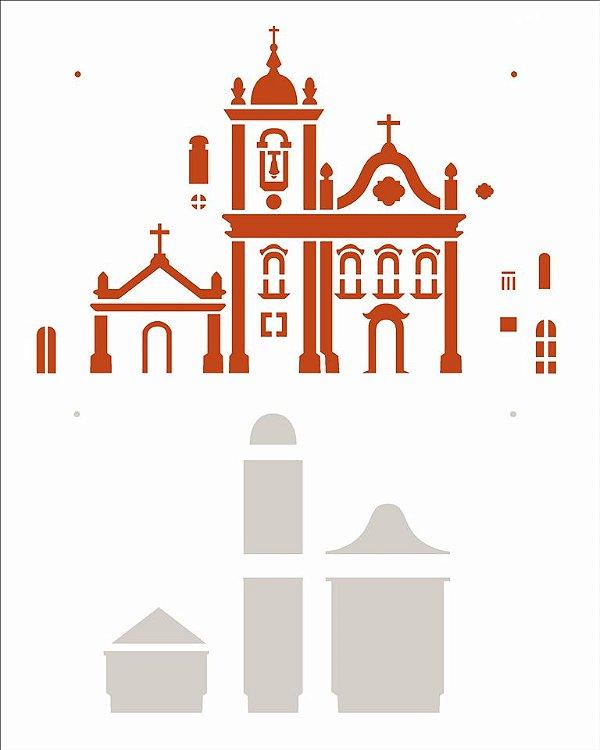 Stencil 20X25 Simples Country Brasil - Igreja I - Opa 2964